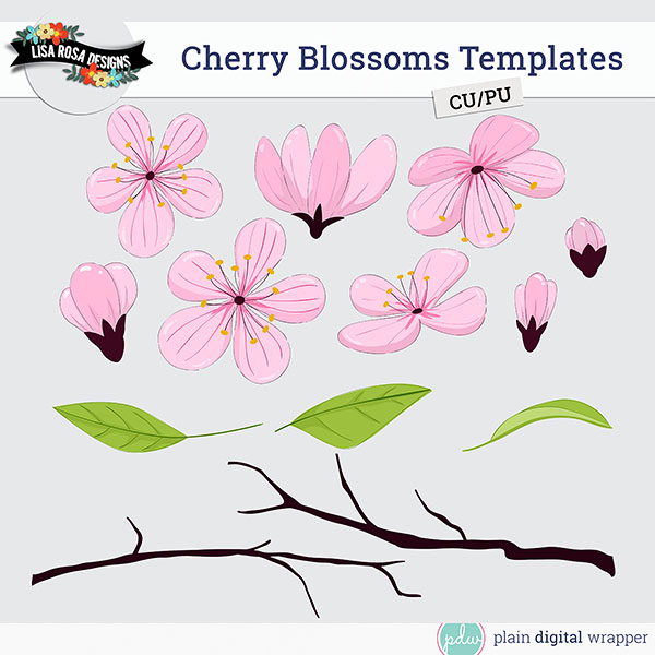 cherry blossoms layered templates