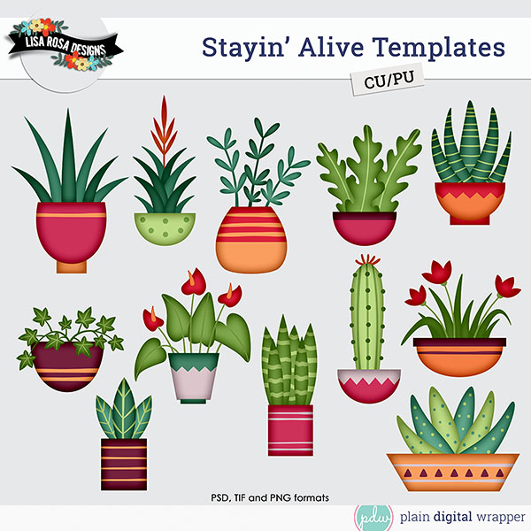 houseplants layered templates