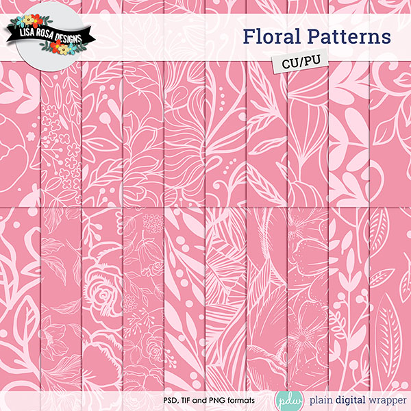 Commercial Use Digital Scrapbook Floral Patterns Preview