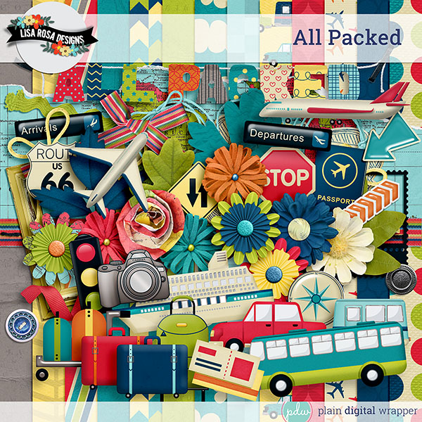 All Packed Full Digital Scrapbook Kit Preview