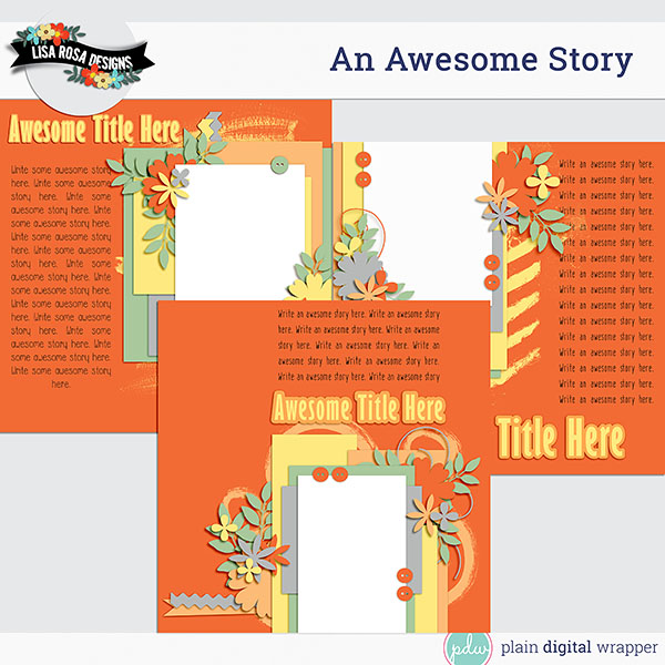 Digital Scrapbook An Awesome Story Layered Page Template