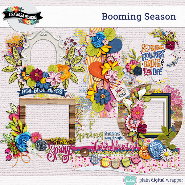 Digital Scrapbook Booming Season Clusters
