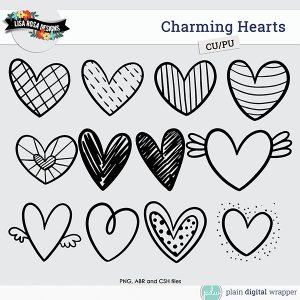 Commercial Use Digital Scrapbook Charming Hearts Brushes and Custom Shapes Preview
