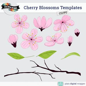 Commercial Use Digital Scrapbook Cherry Blossoms Layered Templates Preview