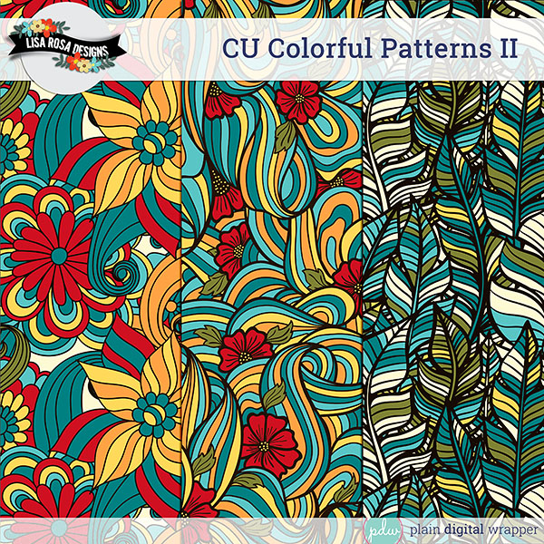 Commercial Use Digital Scrapbook Layered Patterns Preview