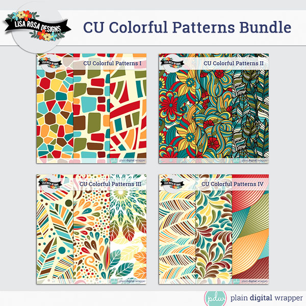 Commercial Use Digital Scrapbook Layered Patterns Bundle Preview