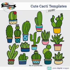 Commercial Use Digital Scrapbook Cute Cacti Layered Templates Preview