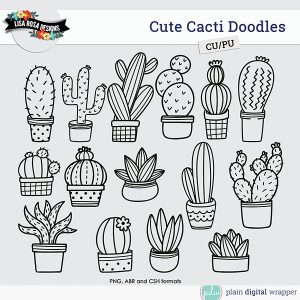 Commercial Use Digital Scrapbook Cute Cacti Brushes and Shapes Preview