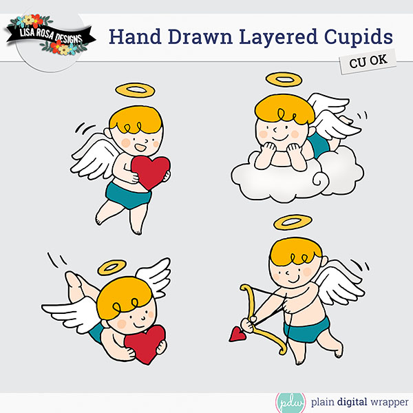 Commercial Use Digital Scrapbook Hand Drawn Cupids Templates Preview