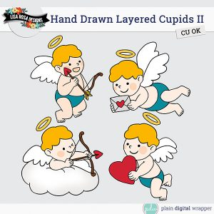Commercial Use Digital Scrapbook Layered Cupid Templates Preview