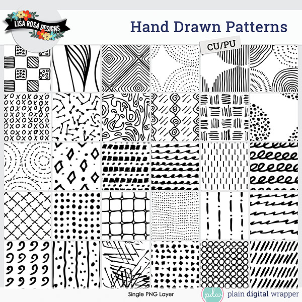 Commercial Use Digital Scrapbook Hand Drawn Patterns Preview