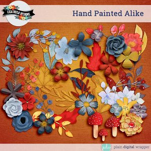 Digital Scrapbook Elements Hand Painted Alike Preview