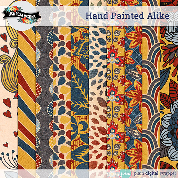 Digital Scrapbook Hand Painted Alike Extravagant Papers Preview