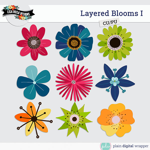 Commercial Use Digital Scrapbook Layered Bloom Templates Preview