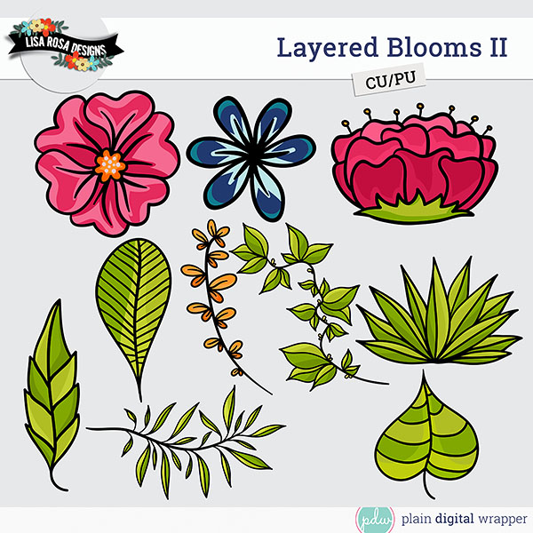 Commercial Use Digital Scrapbook Blooms Layered Templates Preview