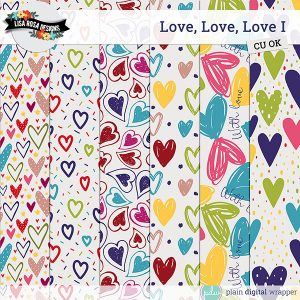 Commercial Use Digital Scrapbook Love Themed Layered Patterns Preview