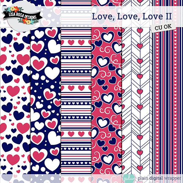 Commercial Use Digital Scrapbook Layered Love Themed Patterns Preview
