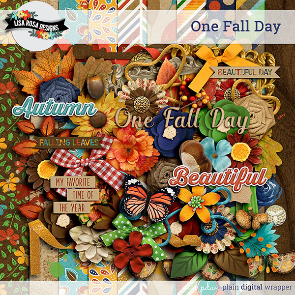 Digital Scrapbook Kit One Fall Day Preview