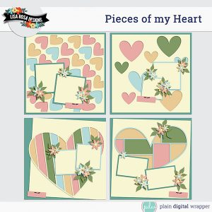Digital Scrapbook Page Template Pieces of my Heart Previews