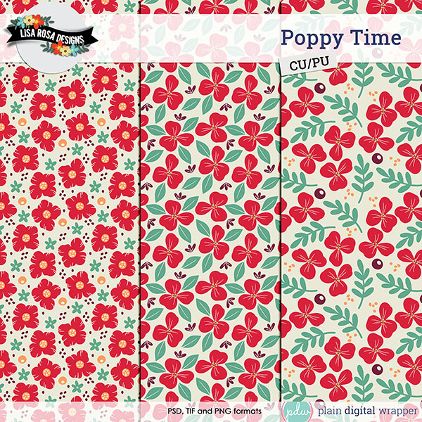Commercial Use Digital Scrapbook Poppy Themed Layered Patterns Preview