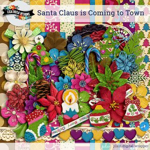 Digital Scrapbook Christmas Themed Kit Santa Claus is Coming to Town Preview