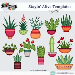 Commercial Use Digital Scrapbook Plants in Pots Layered Templates Preview