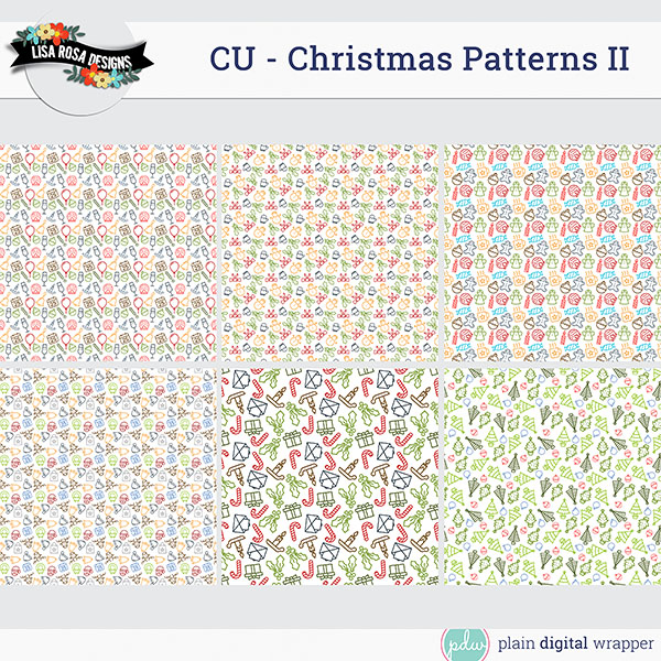 Commercial Use Digital Scrapbook Christmas Layered Patterns Preview