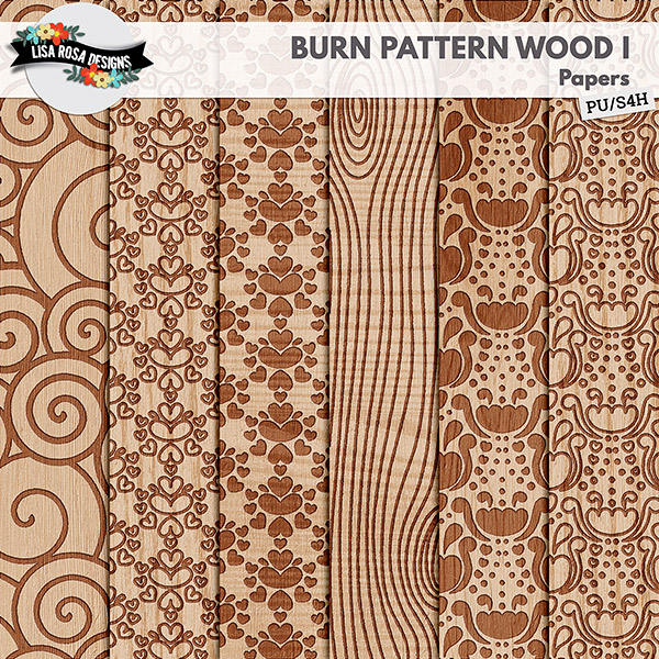Burn Pattern Wood Background Digital Scrapbooking Page Kit by Lisa Rosa Designs available at Digital Scrapbooking Studio