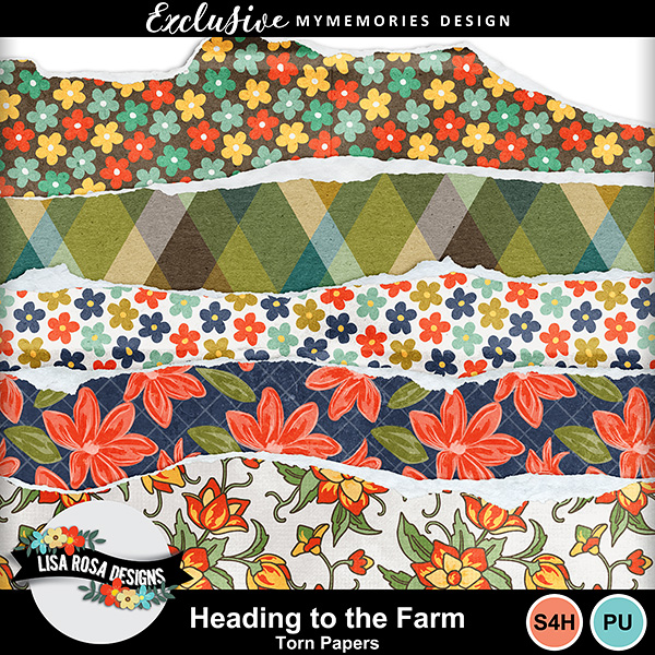Heading to the Farm - Digital Scrapbook torn papers freebie by Lisa Rosa Designs