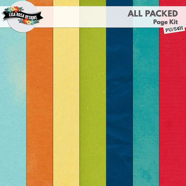 All Packed Digital Scrapbook Page Kit by Lisa Rosa Designs