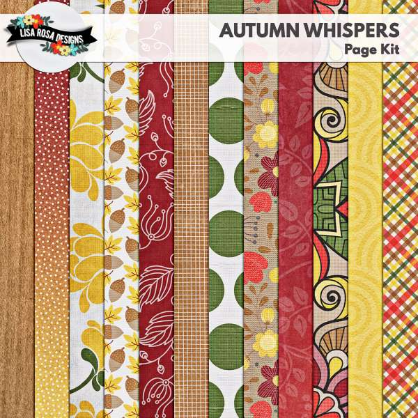 Autumn Whispers Digital Scrapbook Page Kit by Lisa Rosa Designs