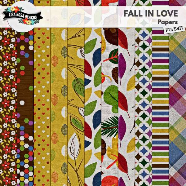 Fall in Love Digital Scrapbook Page Kit by Lisa Rosa Designs