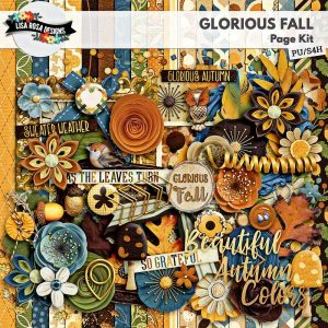 Glorious Fall Digital Scrapbook Page Kit by Lisa Rosa Designs