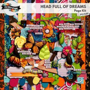 Head Full of Dreams Digital Scrapbook Page Kit by Lisa Rosa Designs