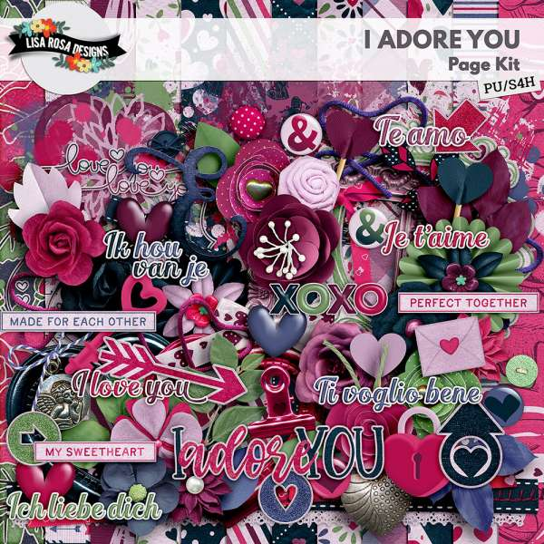 I Adore You Digital Scrapbook Page Kit by Lisa Rosa Designs
