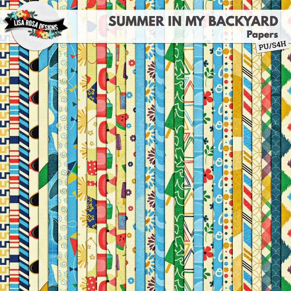 Summer in my Backyard Scrapbook Page Kit by Lisa Rosa Designs