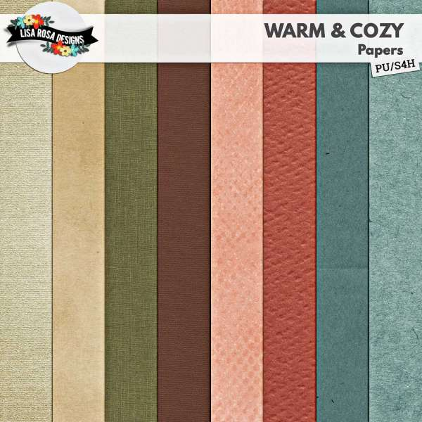 Warm and Cozy Digital Scrapbook Page Kit by Lisa Rosa Designs
