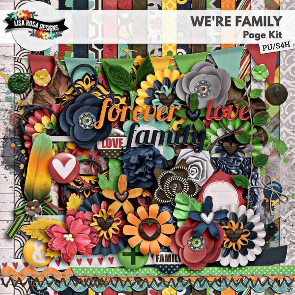 We're Family Scrapbook Page Kit by Lisa Rosa Designs