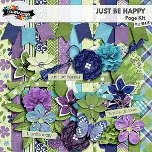 Just Be Happy Digital Scrapbooking Kit by Lisa Rosa Designs