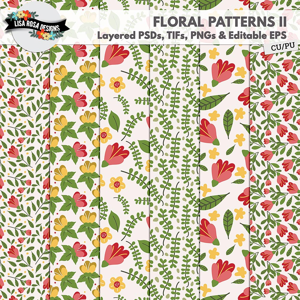 Handrawn Floral Layered Patterns II by Lisa Rosa Designs