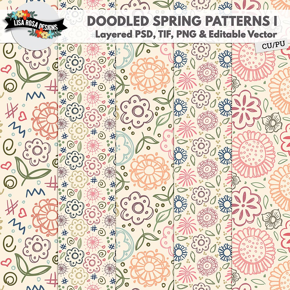CU PU Doodled Spring Layered Patterns and Editable Vector by Lisa Rosa Designs