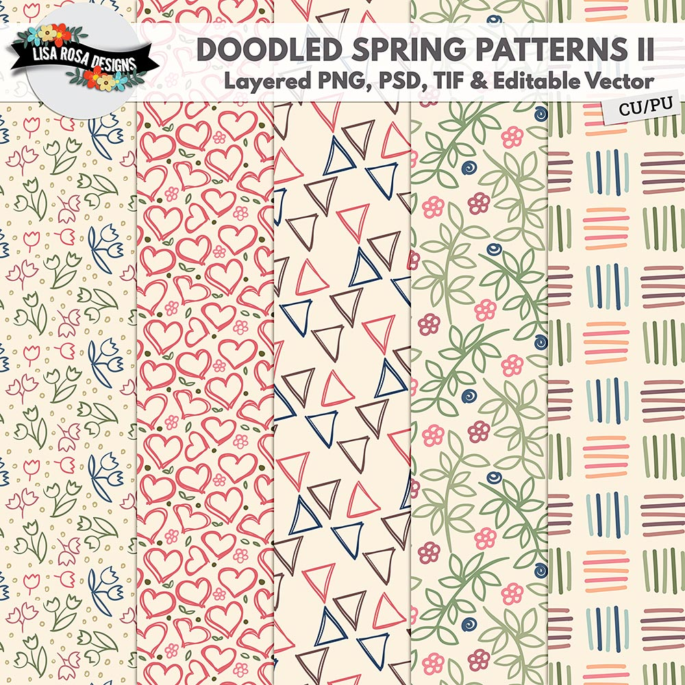 CU PU Doodled Spring II Layered Patterns and Editable Vector by Lisa Rosa Designs