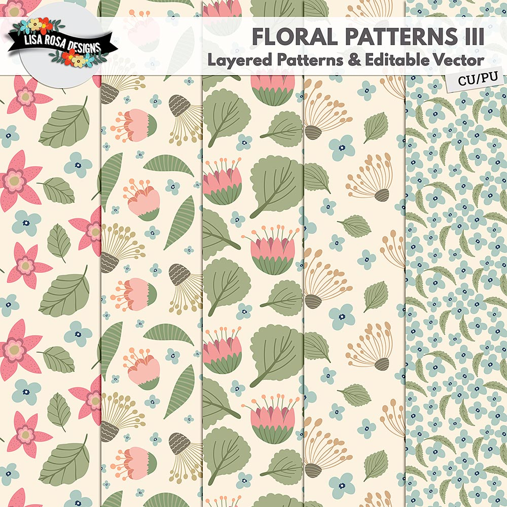 Handrawn Floral Layered Patterns III by Lisa Rosa Designs