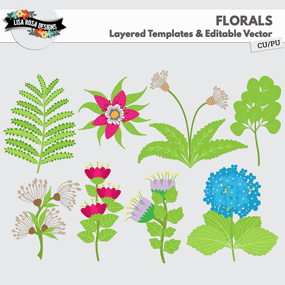 Florals Layered Templates by Lisa Rosa Designs