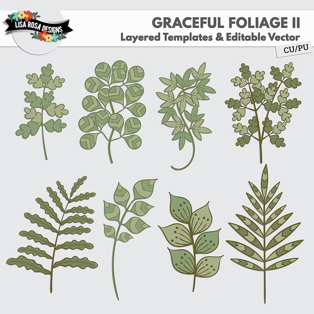 Graceful Foliage II Layered Templates and Editable Vector by Lisa Rosa Designs