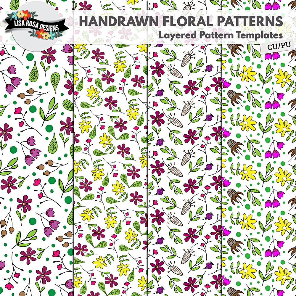 Handrawn Floral Layered Patterns by Lisa Rosa Designs