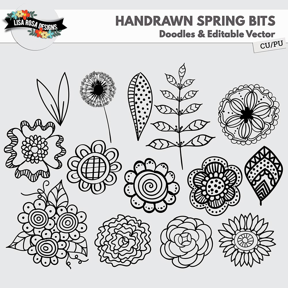 Handrawn Spring Bits CU PU Doodles and Editable Vector by Lisa Rosa Designs