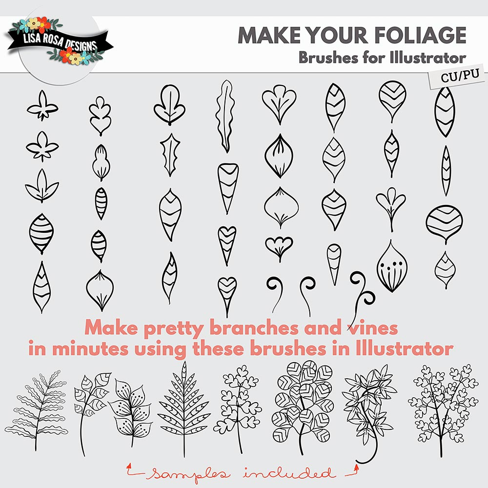 Make Your Foliage Brushes for Illustrator by Lisa Rosa Designs