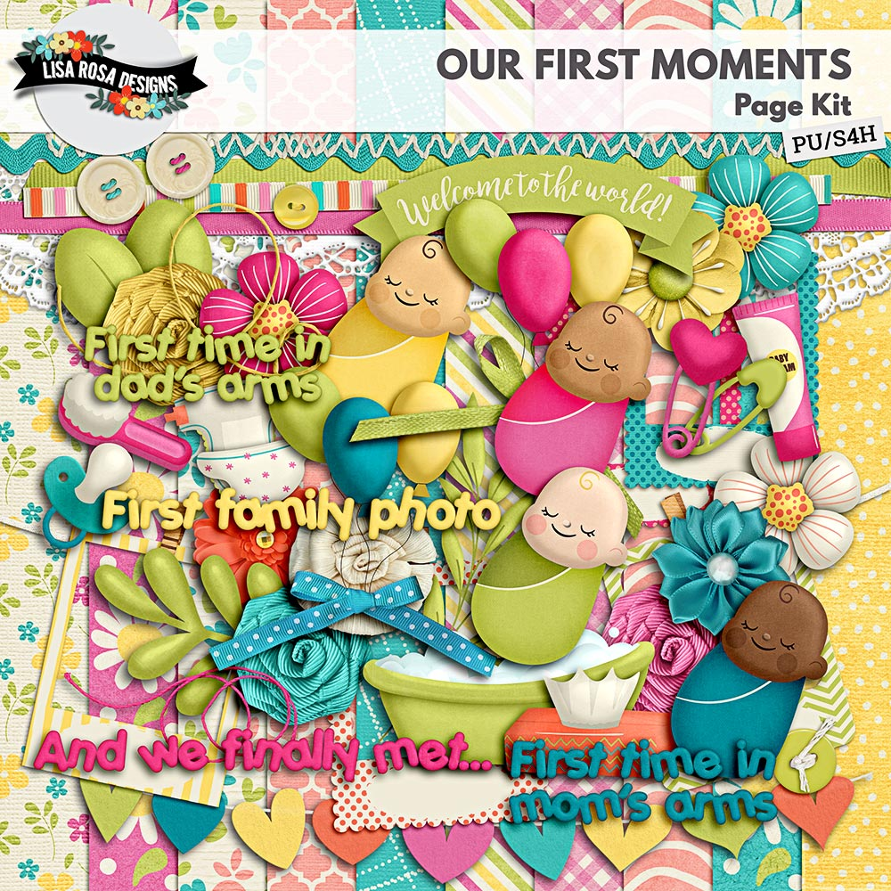 Our First Moments Digital Scrapbook Page Kit by Lisa Rosa Designs