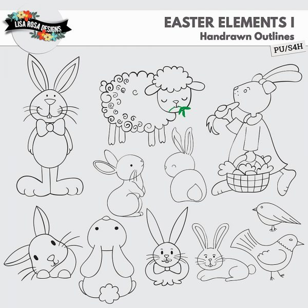 Easter Handrawn Elements by Lisa Rosa Designs
